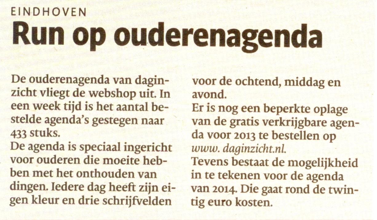 Run op ouderenagenda artikel Eindhovens Dagblad 6 juli 2013
