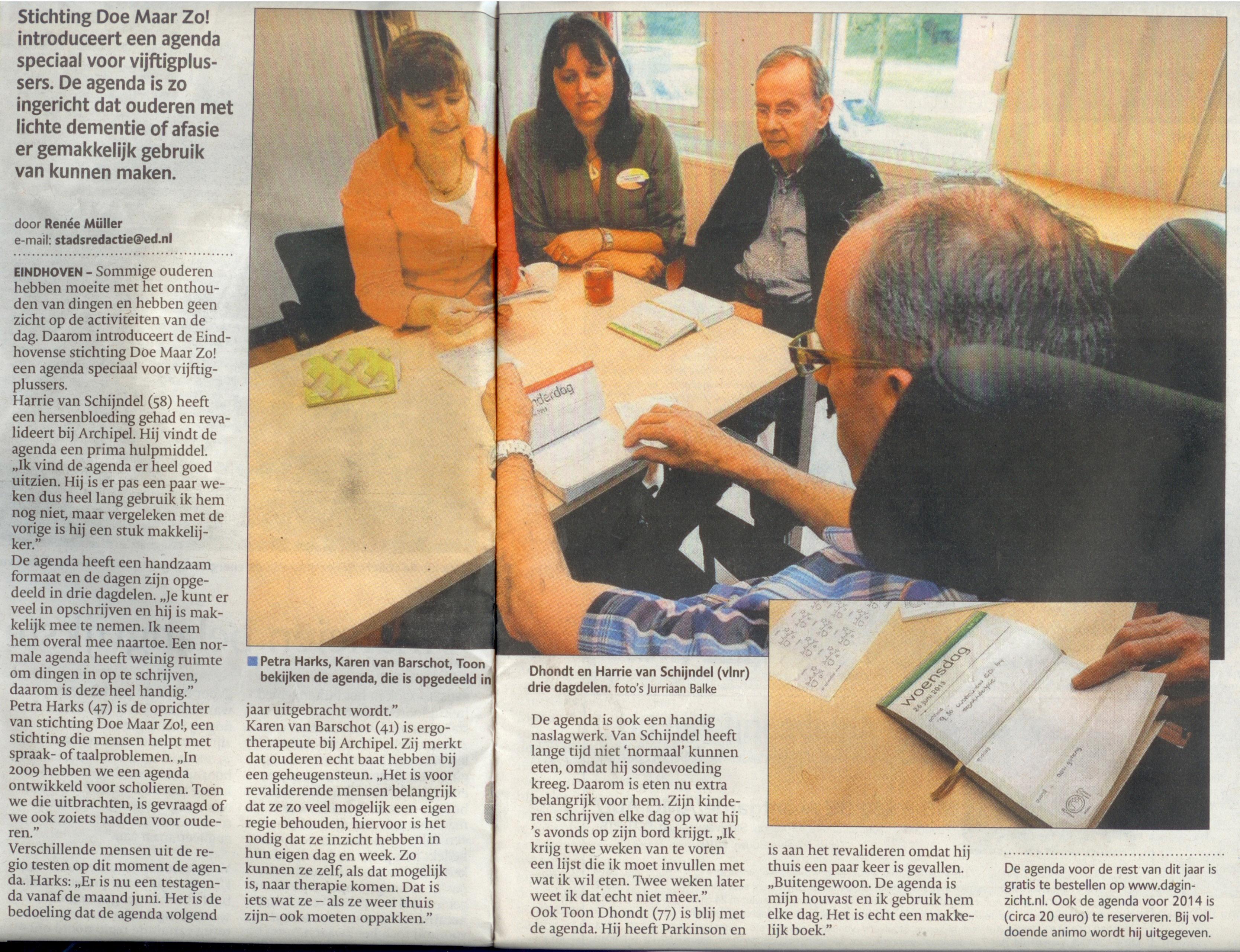 artikel over daginzicht agenda in het Eindhovens Dagblad van 29 juni 2013
