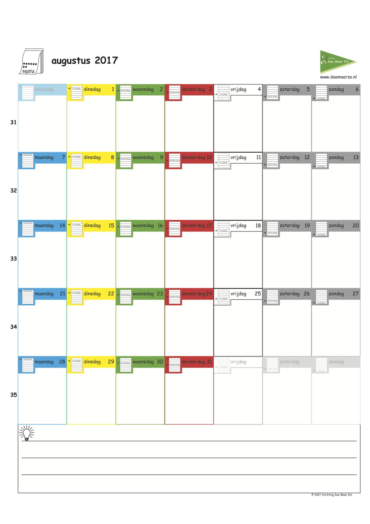 kleuren voor volwassenen kalender