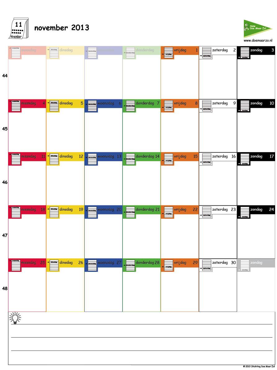 maatwerk kalender 2013