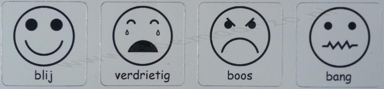 Emotieset, bevat pictomagneten van blij, verdrietig, boos en bang