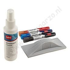 NOBO wisser, 3 niet-permanente markeerstiften en reinigingsmiddel voor het whiteboard
