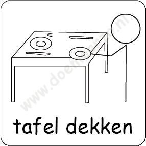 tafel dekken pictomagneet voor 3x3cm dagritme systeem