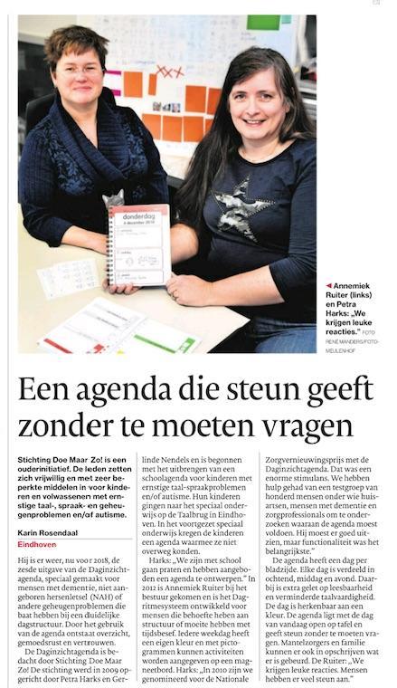 Daginzicht artikel. Eindhovens Dagblad 19 dec 2017