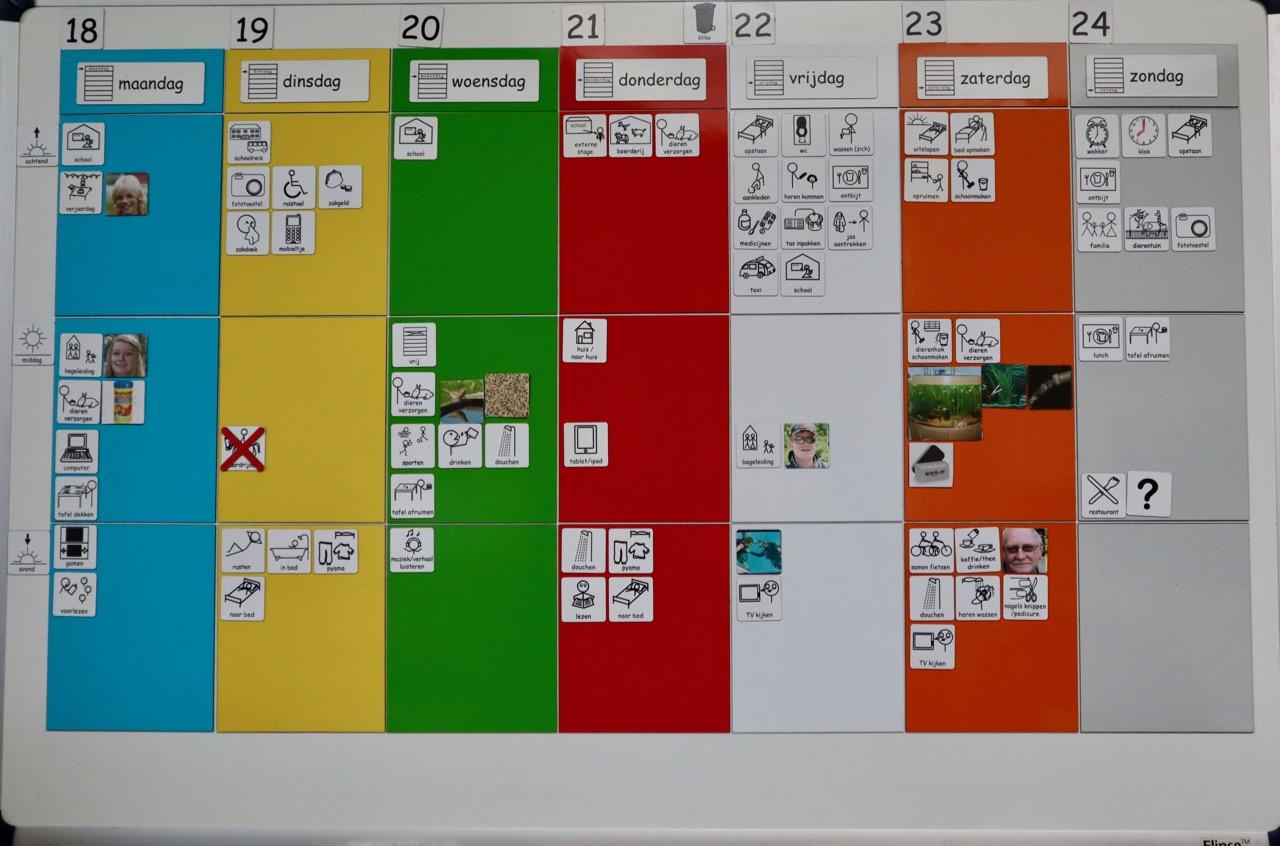 Voorbeeld planbord ingericht voor 1 week: klik voor vergroting